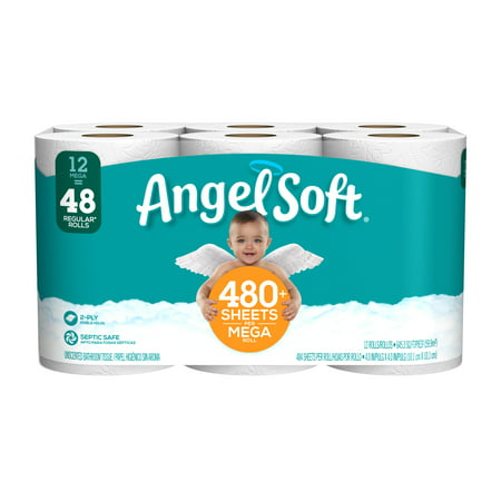 Angel Soft Toilet Paper, 12 Mega Rolls (= 48 Regular (Best Toilet Paper For Your Money)
