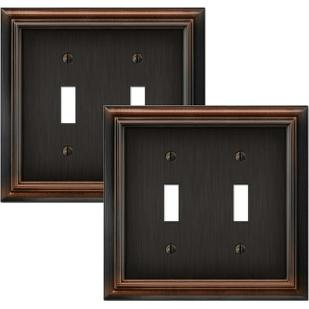 Elumina Continental Cast, Satin Aged Bronze Wallplate, Double Toggle, 2 pack