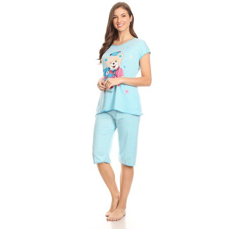 Polka Dot Capri Pajama (5012C Womens Capri Set Sleepwear Cotton Pajamas - Woman Sleeveless Sleep Nightshirt Blue 51)