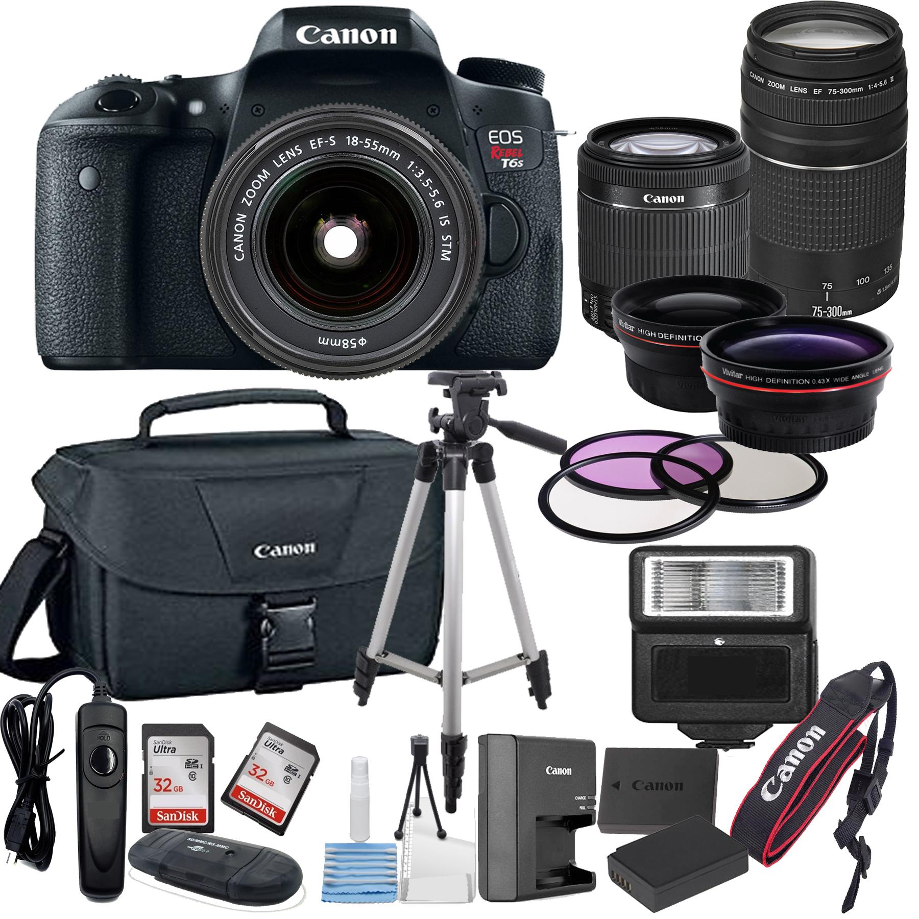 Canon EOS Rebel T6S Digital SLR Camera w/ EF-S 18-55mm + 75
