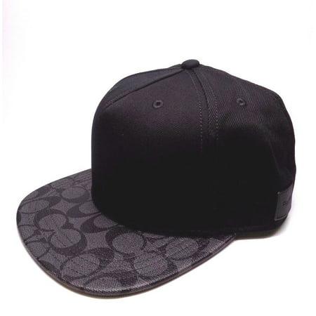 ef843d4194a Coach - BRAND NEW MEN S COACH FLAT BRIM SIGNATURE PVC CHARCOAL BLACK HAT CAP  - Walmart.com