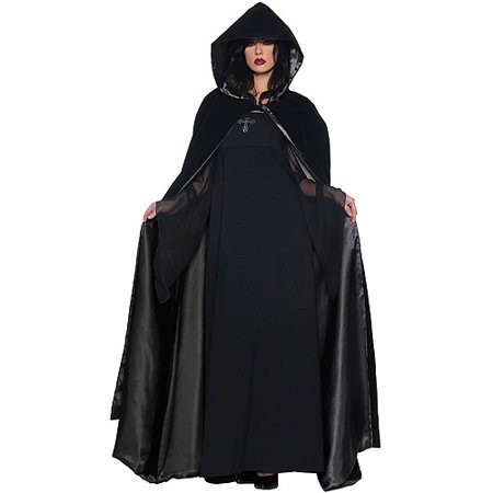Black Cape and Black Deluxe Adult Halloween Accessory