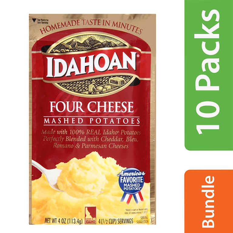 (10 Pack) Idahoan Four Cheese Mashed Potatoes, 4 oz