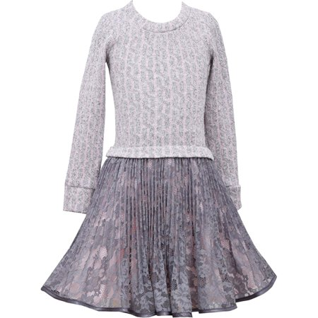 Tween Girls Plus Size 10.5-20.5 Pink/Grey Long Sleeve Crystal Pleat Lace Social Party Dress, 14.5 - Tween Size Chart
