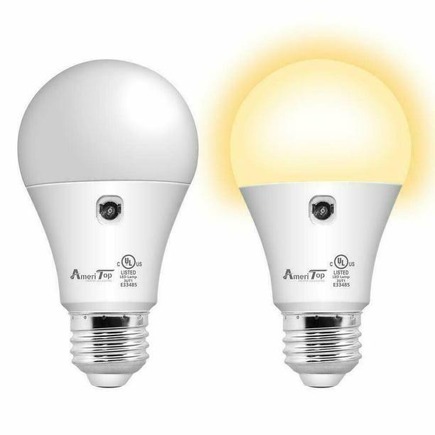 Dusk To Dawn Light Bulb 2 Pack A19, Warm White Led Outdoor Light Bulbs