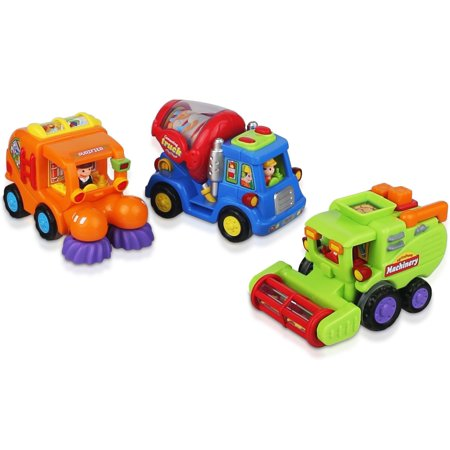 CifToys Friction Powered Push and Go Car Toys for Boys - Construction Vehicles Toys for 1 Year Old Boys (18 Months+) Toddlers Street Sweeper Truck, Cement Mixer Truck, Harvester Toy (Best Toys For 18 Month Old Boy)