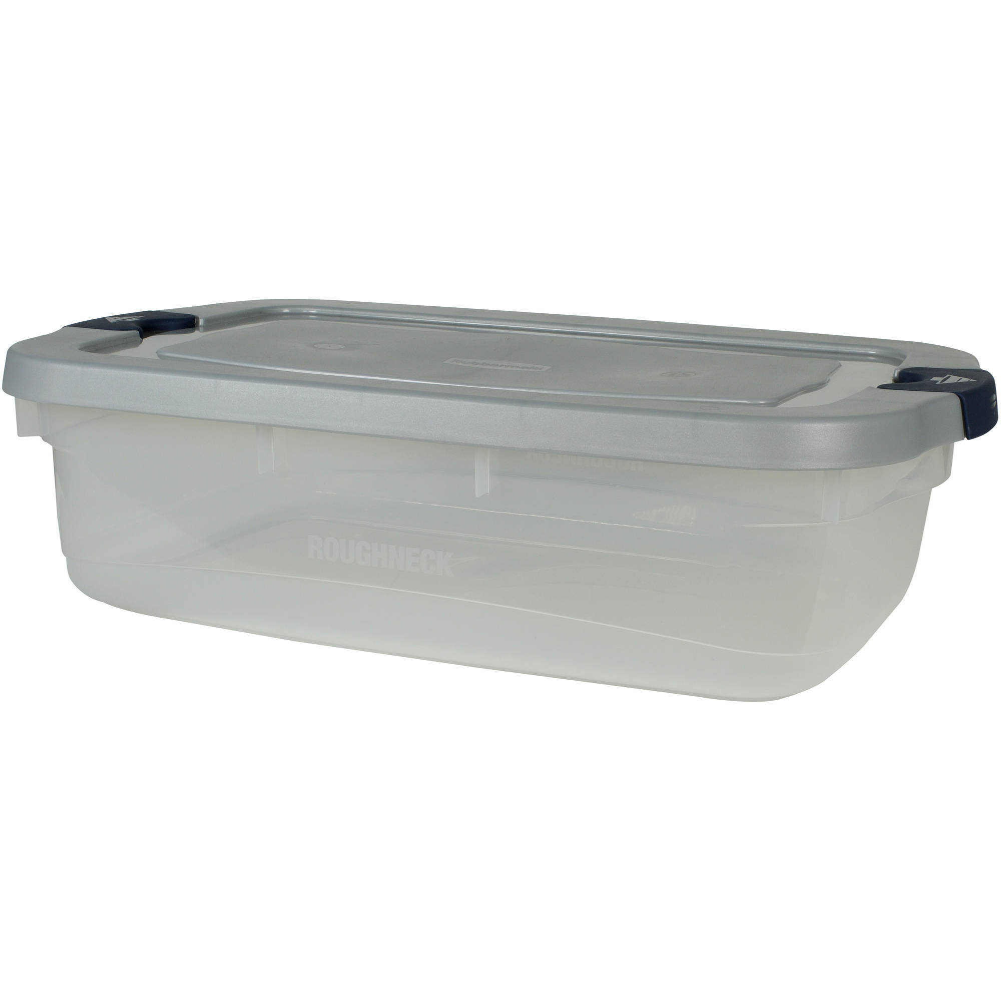 Rubbermaid Roughneck Clears Storage Tote Bins, 31 Qt (7.75 Gal), Clear with Gray Lid, Set of 6