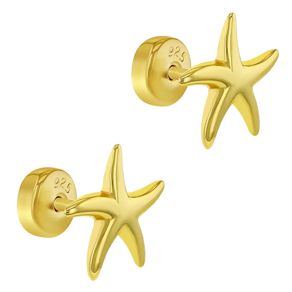 925 Sterling Silver Starfish Stud Earrings Sea Nautical Safety Back for Girls - image 1 de 5