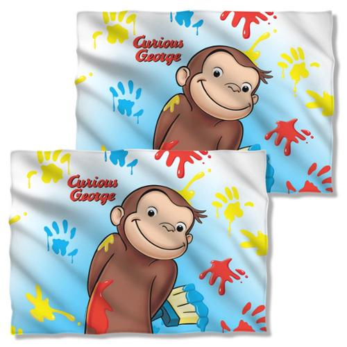 Curious George Paint Pillow Case White One Size