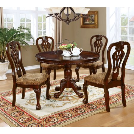 Formal Traditional Antique Dining Room Furniture 5pcs Set Clic Round Table And Padded Seat Chairs
