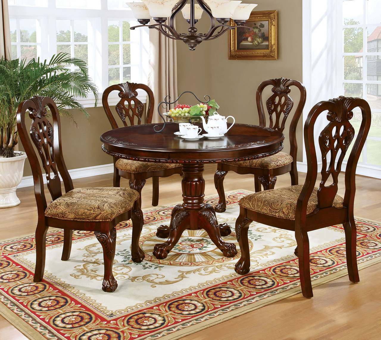 Genial Formal Traditional Antique Dining Room Furniture 5pcs Set Classic Round  Dining Table And Padded Seat Dining Chairs