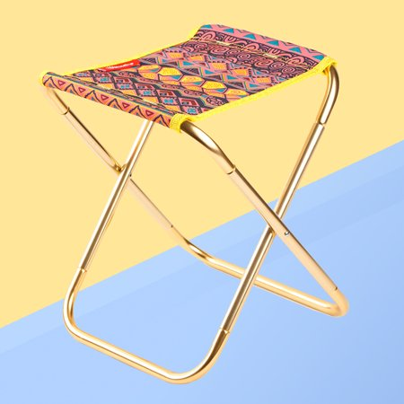 Portable Outdoor Aluminum Alloy Folding Camping Stool Lightweight Collapsible Chair for Hiking Fishing Travelling Beach (Ethnic Printing Pattern) ()