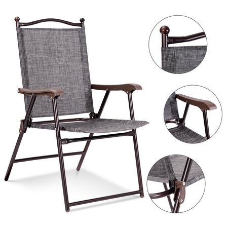 Costway Set Of 2 Folding Sling Back Chair Camping Deck Patio Garden Beach Image 1