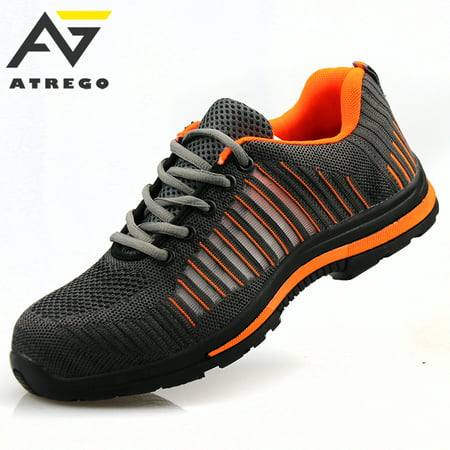 ATREGO Men's Safety Toe Lightweight Safety Sneakers Steel Toe Breath Outdoor Sports Work Shoes Boots for Working Training ()