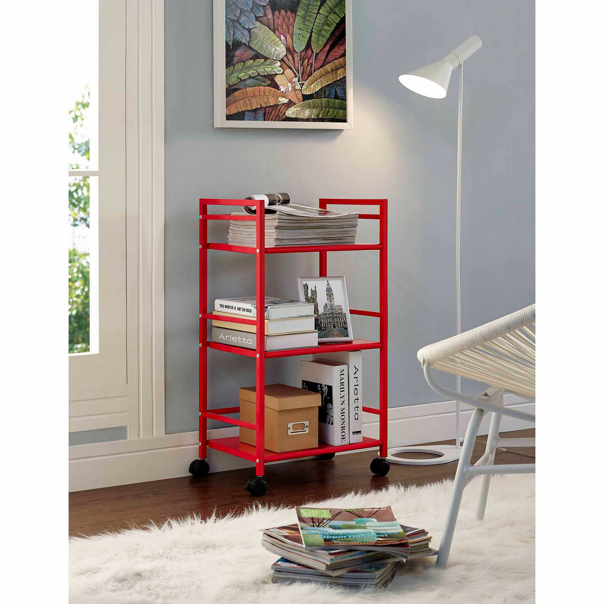 Altra Furniture Marshall 3-Shelf Rolling Storage Cart, Multiple Colors