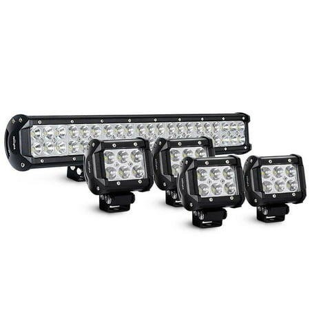 Led Truck - Nilight 20Inch 126W Spot Flood Combo Led Light Bar 4PCS 4Inch 18W Spot LED Pods Fog Lights for Jeep Wrangler Boat Truck Tractor Trailer Off-Road,2 years Warranty