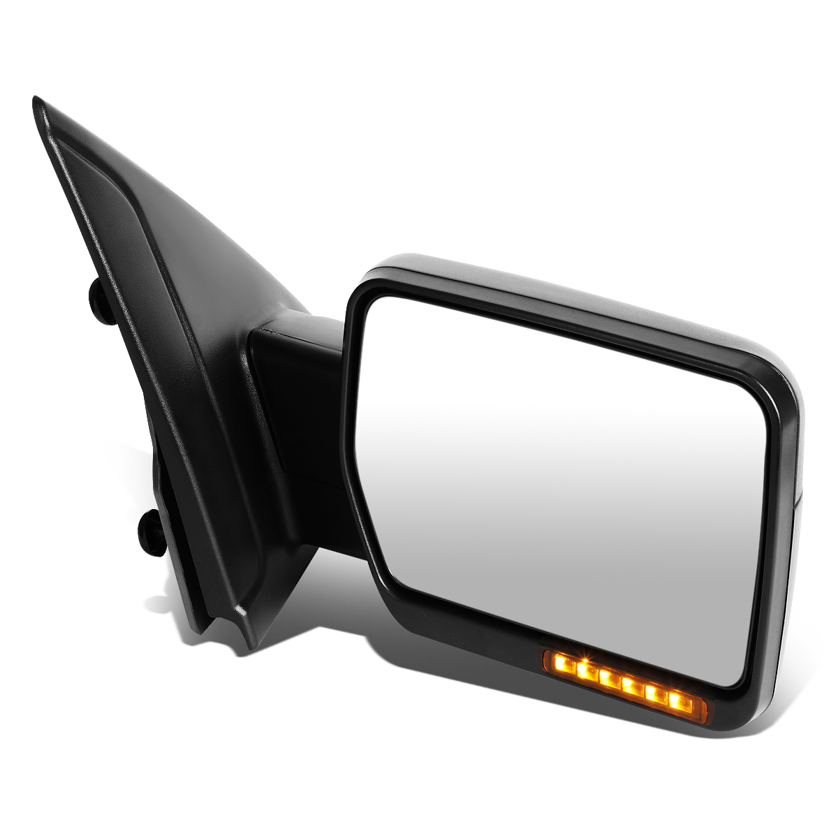 For 04-14 Ford F-150 Black Amber Signal + Manual Extendable Side Towing Mirrors (Right/Passenger)