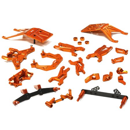 Integy RC Toy Model Hop-ups T8676ORANGE Billet Machined Complete Suspension Kit for 1/10 Traxxas Slash 2WD