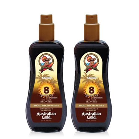 (2 Pack) Australian Gold Spray Gel w/ Instant Bronzer, SPF 8