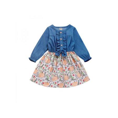 Halloween Pillowcase Dress Patterns (Fymall Toddler Girls Autumn Halloween Casual Long Sleeve Pumpkin Pattern Denim Party)
