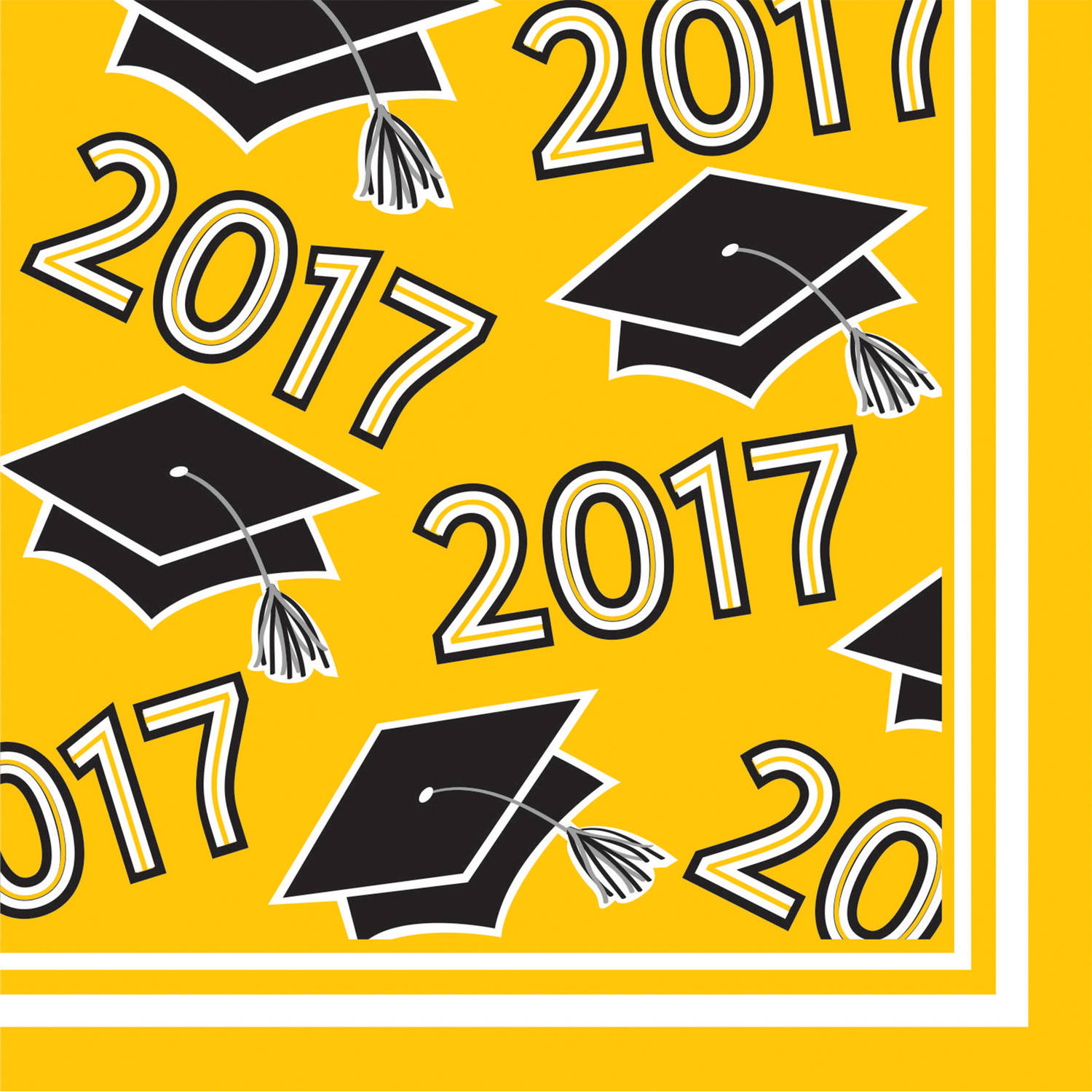 Class of 2017 Yellow Beverage Napkins, 36pk by CREATIVE CONVERTING