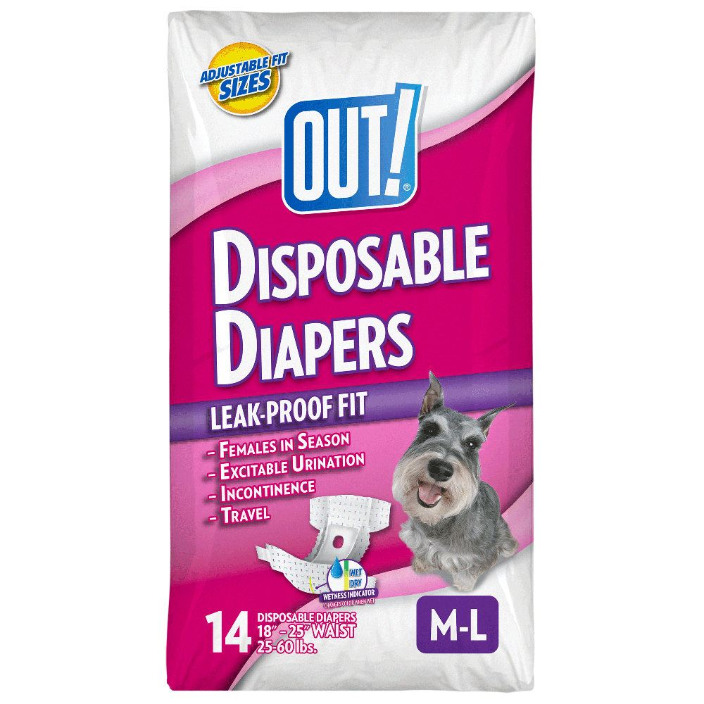 OUT! Pet Care Disposable Female Dog Diapers | Absorbent with Leak Proof Fit | Medium/Large, 14 Count