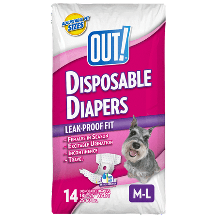 OUT! Pet Care Disposable Female Dog Diapers | Absorbent with Leak Proof Fit | Medium/Large, 14 Count ()