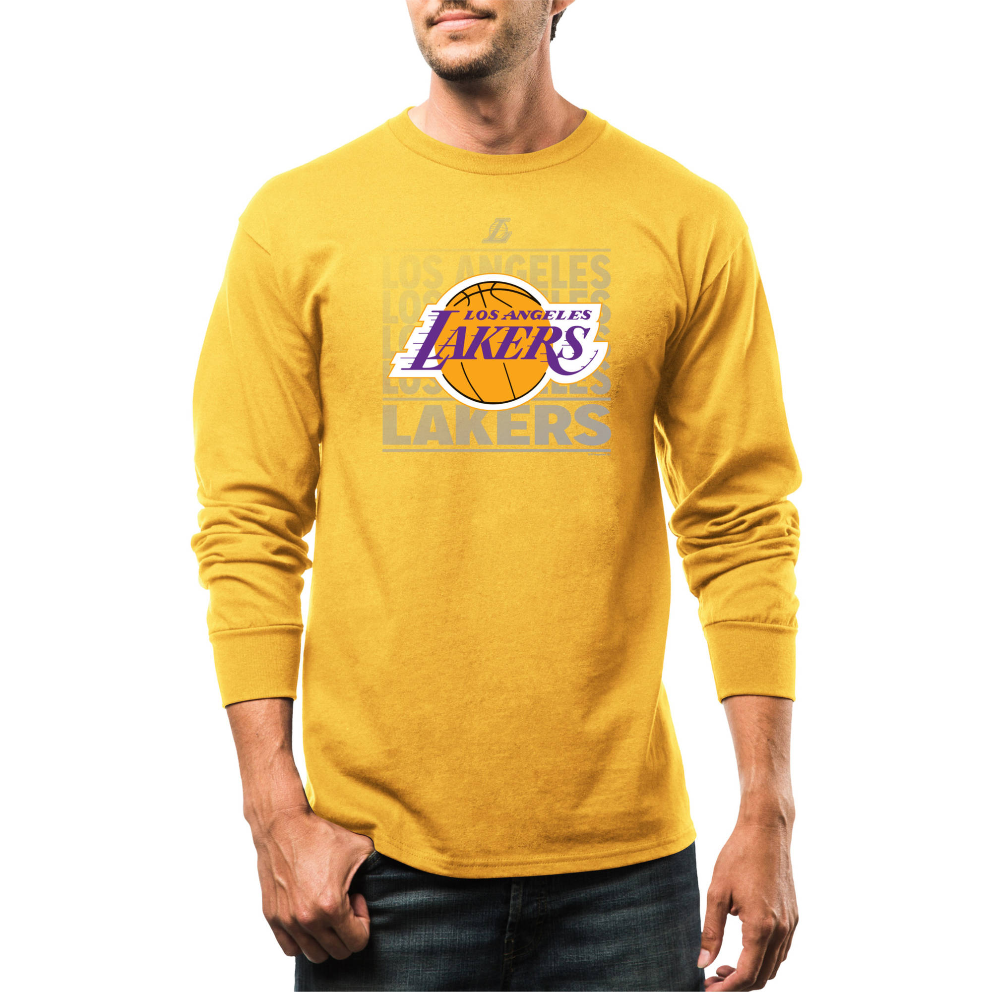 NBA Los Angeles Lakers Men's Movin Up Long Sleeve Crew Neck Basic Tee