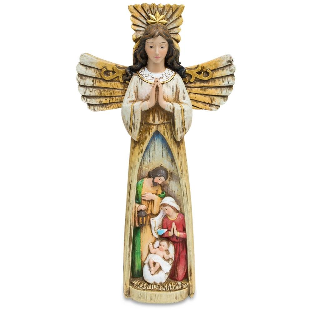"11"" Guardian Angel Overlooking Nativity Scene Figurine"