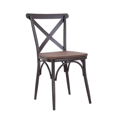 Rustic Cross Back Metal Modern Farmhouse Dining Chair with Wooden Seat, Matte Black, Set of 2 Cross Back Fabric Seat