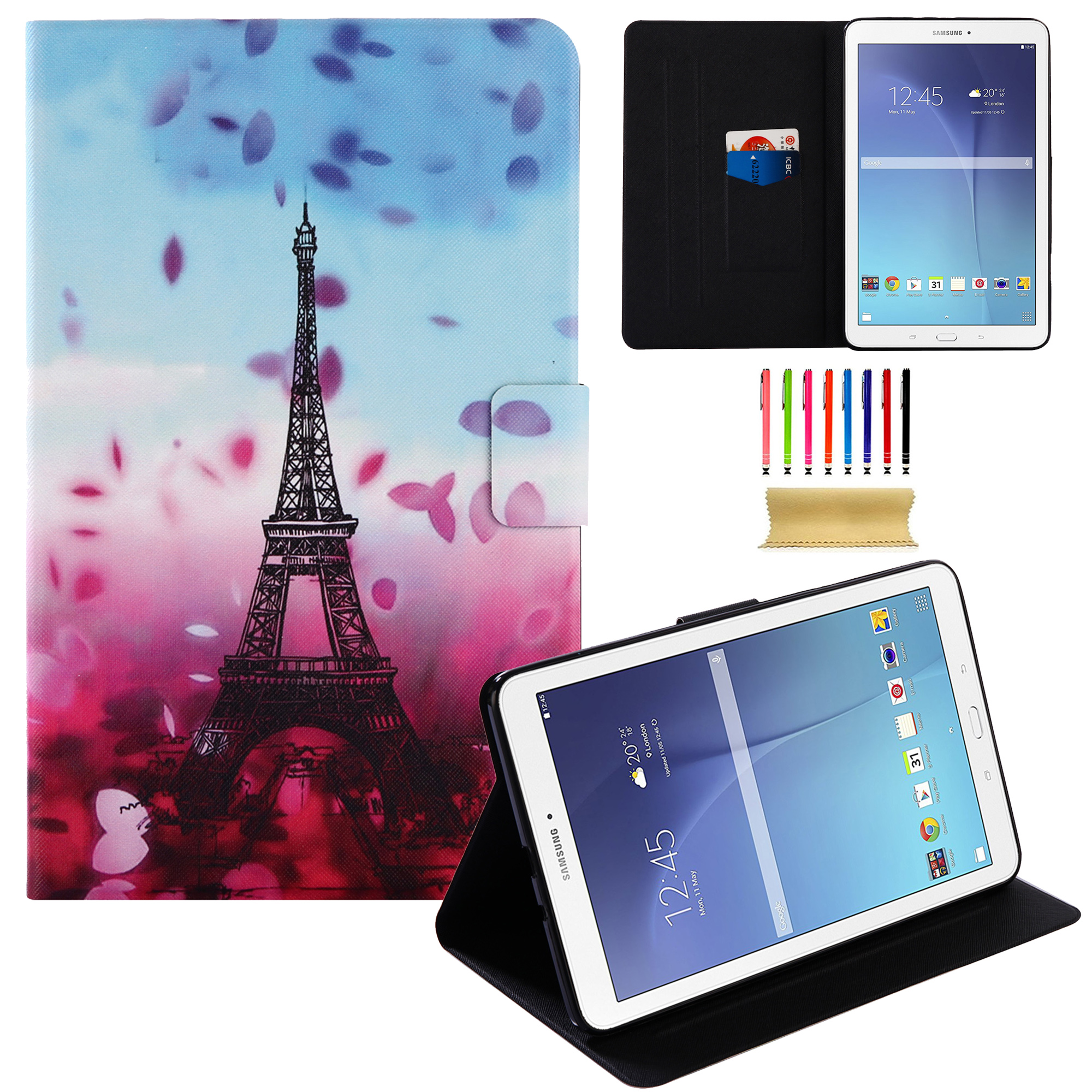 "Galaxy Tab E 9.6 Case, Allytech PU Leather Folio Stand Wallet Covers for Galaxy Tab E 9.6""/ Tab E Nook 9.6-Inch Tablet (SM-T560 / T561 / T565 and SM-T567V Verizon 4G LTE Version), Eiffel Tower"
