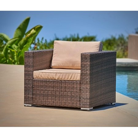 Suncrown Outdoor Furniture All Weather Brown Checkered Wicker Sofa Chair | Additional Chair for Suncrown 6
