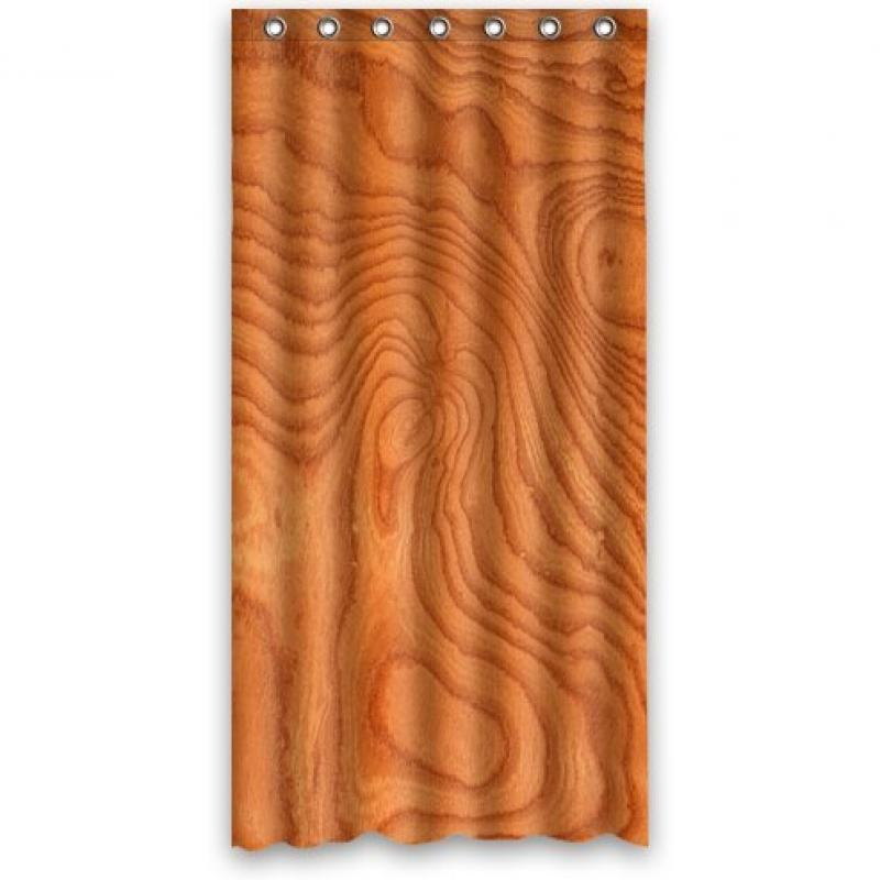 Custom Unique Design Wood Grain Pattern Waterproof Bathroom Polyester Fabric Shower Curtain Orange Red 36(w)x72(h)