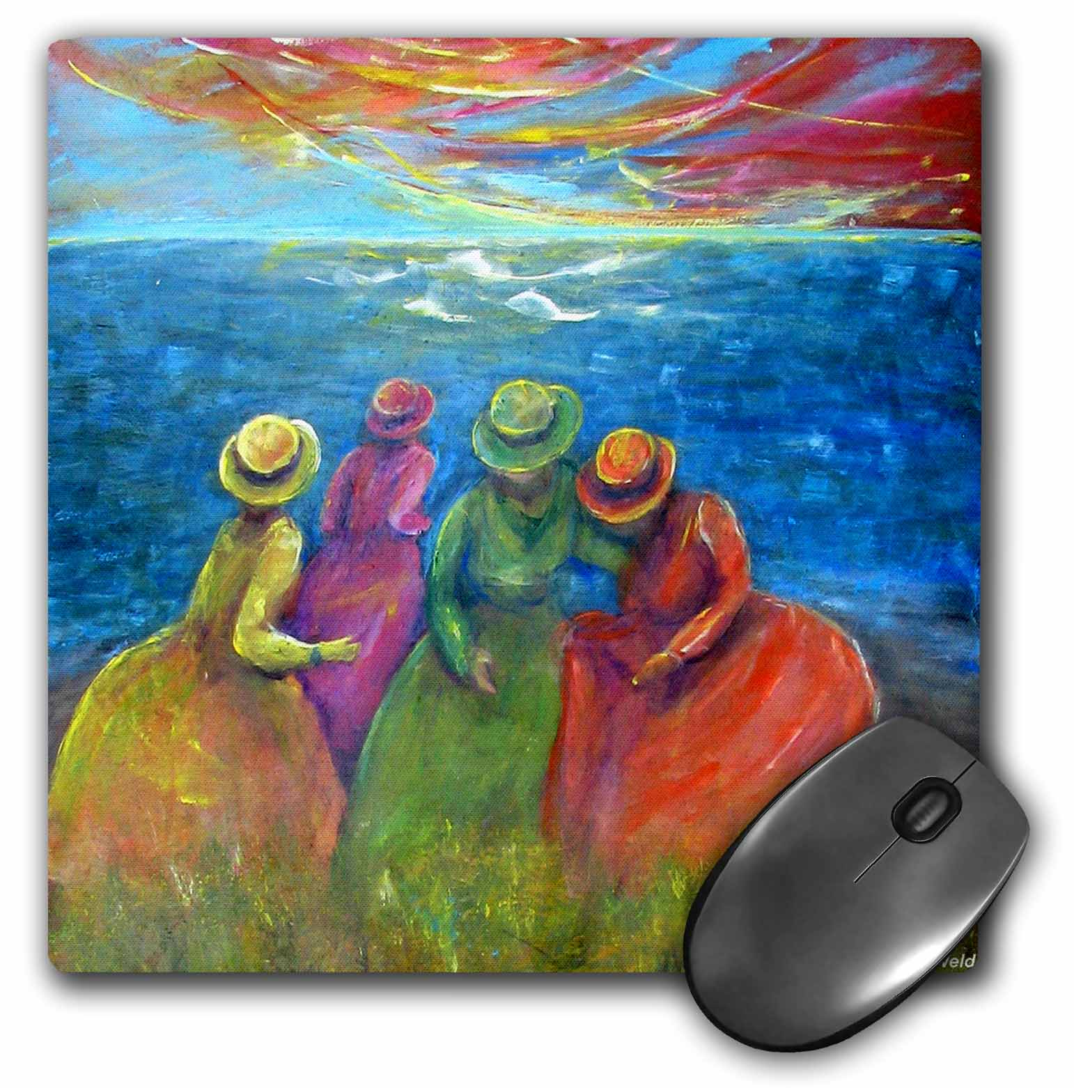 3dRose Frolic, 4 seaside sisters visit the seascoast, Mouse Pad, 8 by 8 inches