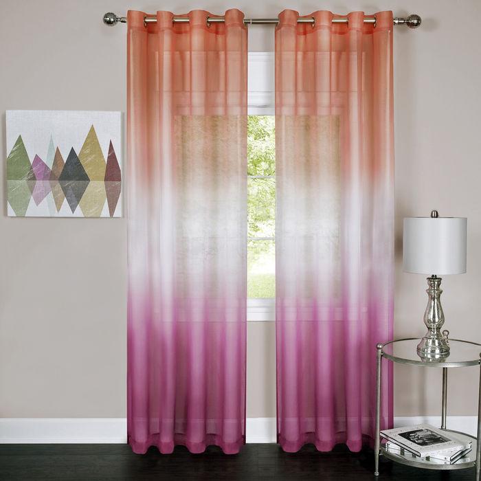 Achim Rainbow Ombre Single Grommet Window Curtain Panel