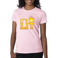 Trendy USA 1032 - Women's T-Shirt It's Lit Tinder Fire Flame Large Light Pink