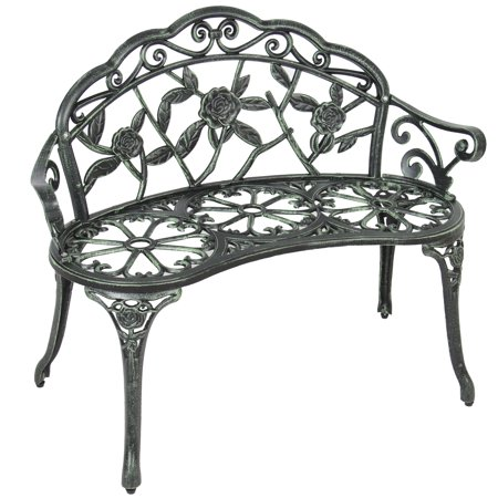 Best Choice Products 39in Metal Outdoor Park Bench Porch Chair Yard Furniture for Backyard, Garden, Patio, Porch w/ Rose Accented Design - Black ()