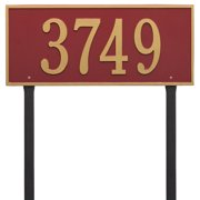 Personalized Whitehall Products Hartford Estate Lawn Address Plaque in Red/Gold