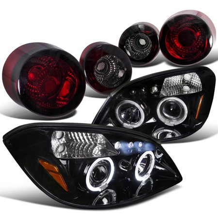Spec-D Tuning For 2005-2010 Chevy Cobalt Coupe Led Halo Glossy Black Projector Headlights + Smoke Tail Lights (Left + Right) 2005 2006 2007 2008 2009 (2007 Chevy Cobalt Ss Supercharged For Sale)