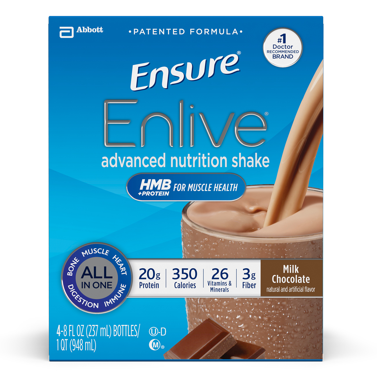 Ensure Enlive Advanced Nutrition Shake, Chocolate, 8 fl oz (Pack of 4)