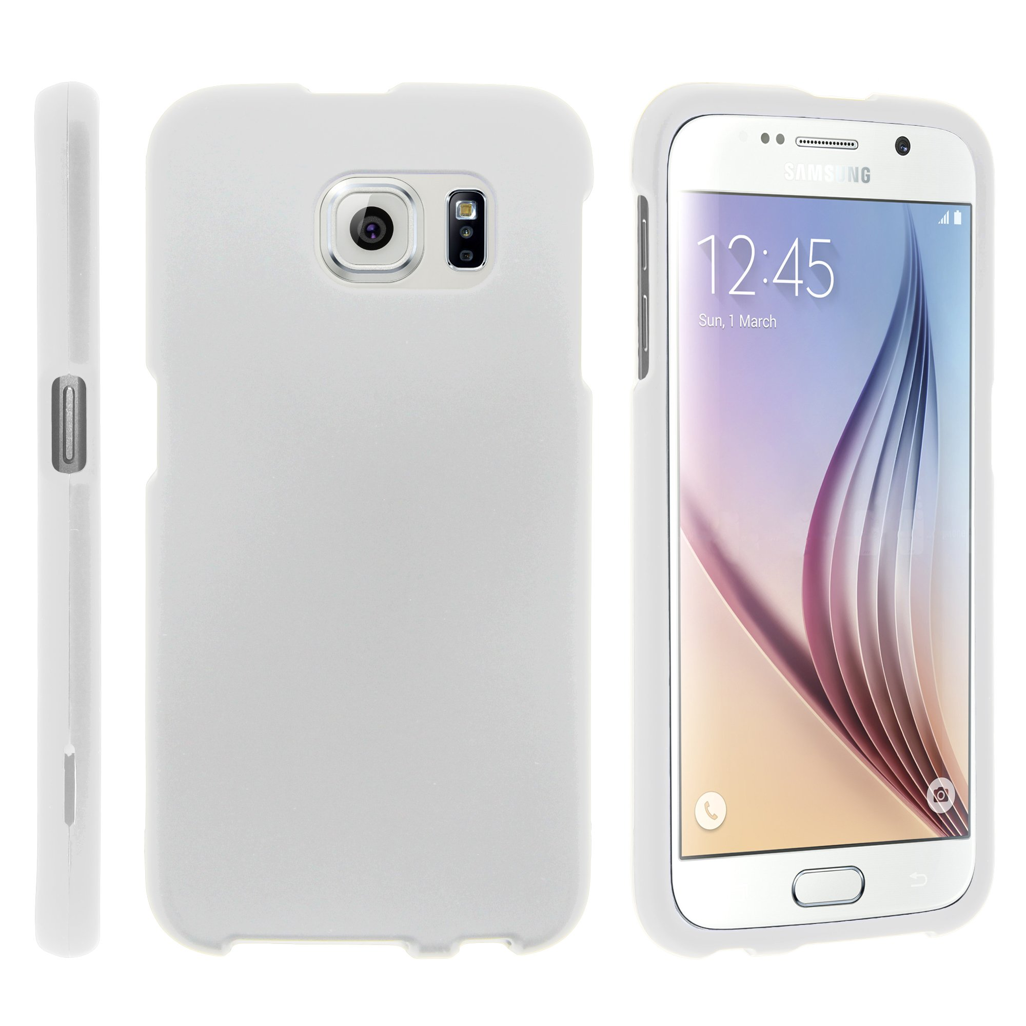 Samsung Galaxy S6 Edge G925, [SNAP SHELL][White] 1 Piece Snap On Rubberized Hard White Plastic Cell Phone Case with Exclusive Art -  White