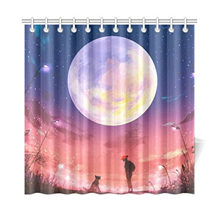 YUSDECOR Beautiful Night Shower Curtain Home Decor Bathroom Shower Curtain 66x72 inch - image 1 of 1