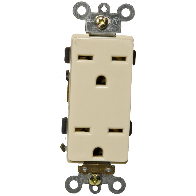 Morris Products 15A-250V Industrial Grade Decorator Duplex Receptacle in Ivory