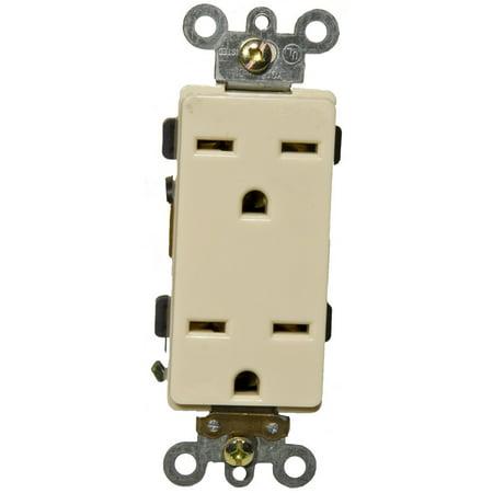 Receptacle Set (15A-250V Industrial Grade Decorator Duplex Receptacle in Ivory [Set of 3])