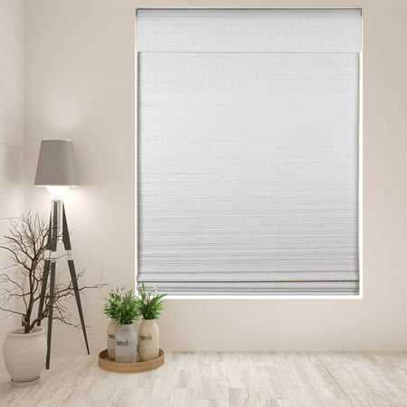 Arlo Blinds Cordless Semi-Privacy White Bamboo Roman Shades Blinds - Size: 19