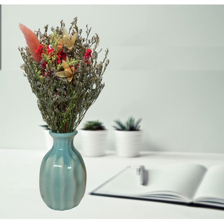 Handmade Dry Flowers with Ceramic Vase (Blue Vase);Product Size: 7.5x3.5x3.5 (vase size: 3x1.5x1.5). Accent any office home dorm, shop event party wedding ()