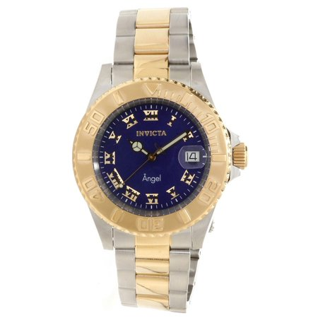 14363 Womens Angel Quartz Dark Blue Dial Two Tone Steel Bracelet Watch 2 Tone Blue Dial