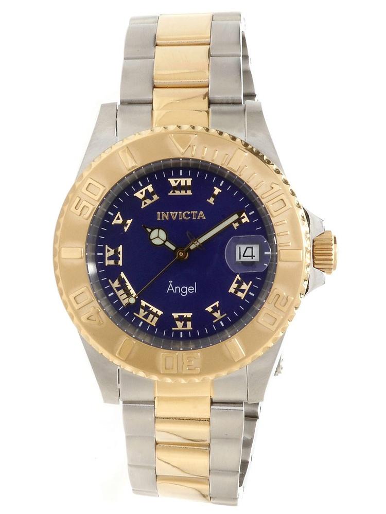 14363 Womens Angel Quartz Dark Blue Dial Two Tone Steel Bracelet Watch