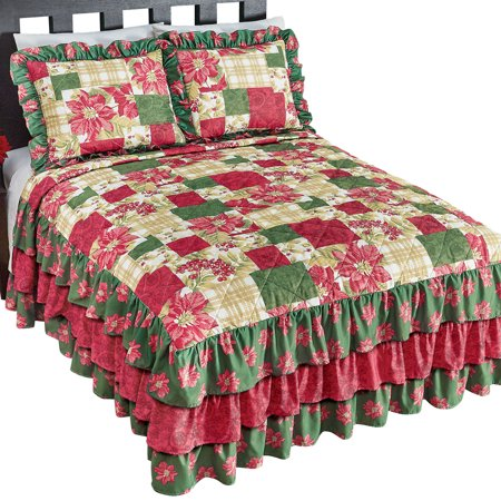Poinsettia and Plaid Christmas Patchwork Bedspread with 3 Tier Ruffles - Festive Holiday Bedding, Full, Multi