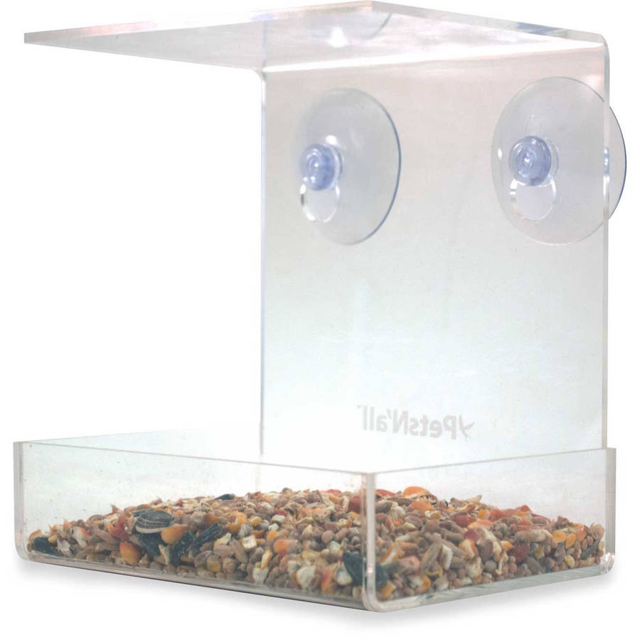 PetsN'all Acrylic Clear Window Heavy-Duty 2-Cup Bird Feeder
